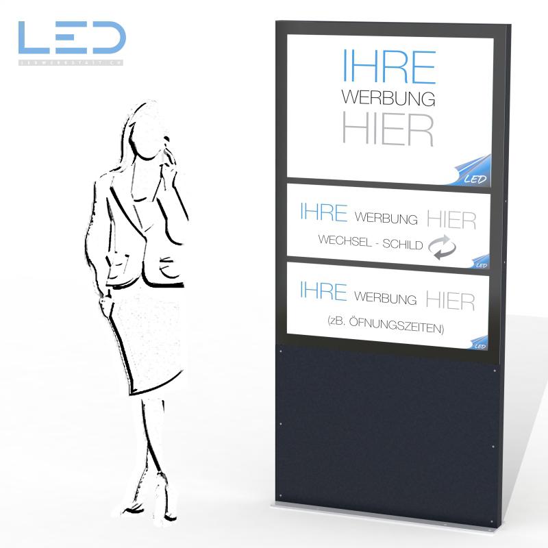 Leuchtreklame A0 flex, LED Pylone, Leuchtkasten, Totem, Reklame mit Einschub, Swiss Made
